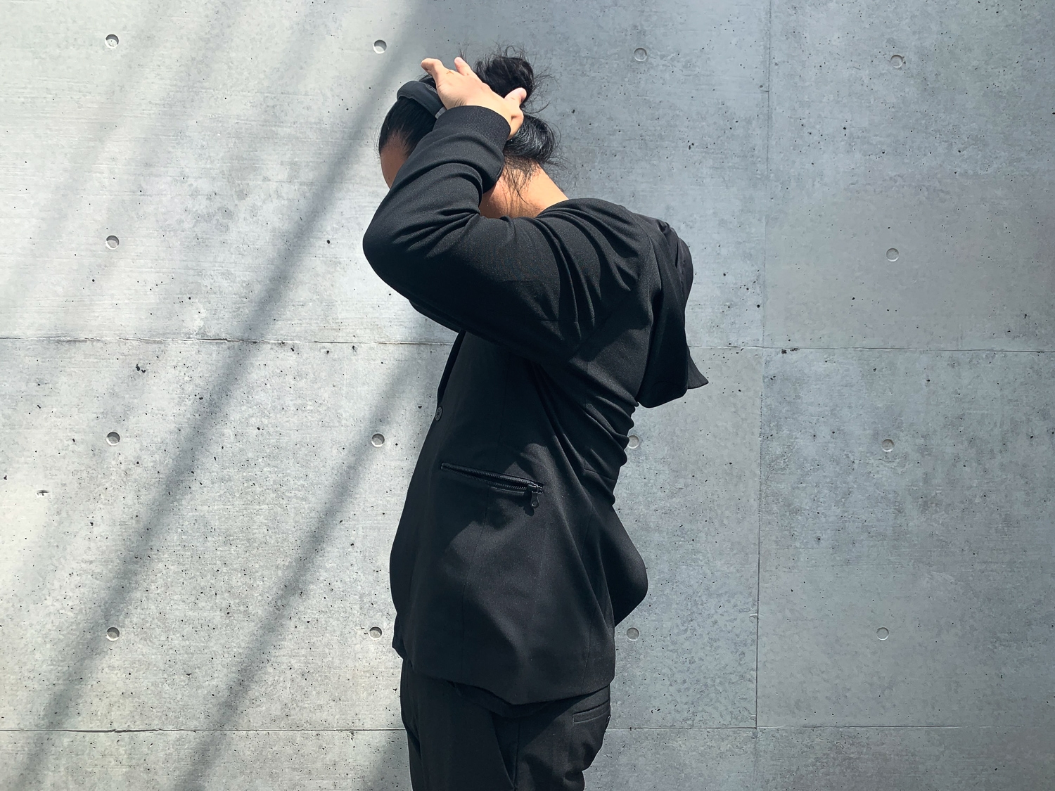 Ultimate simplicity from an all black suit,