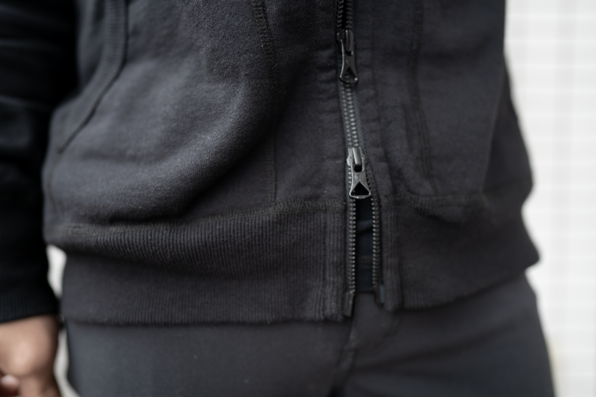 Double zips on the Reigning Champ Full Zip Hoodie that may not be necessary.