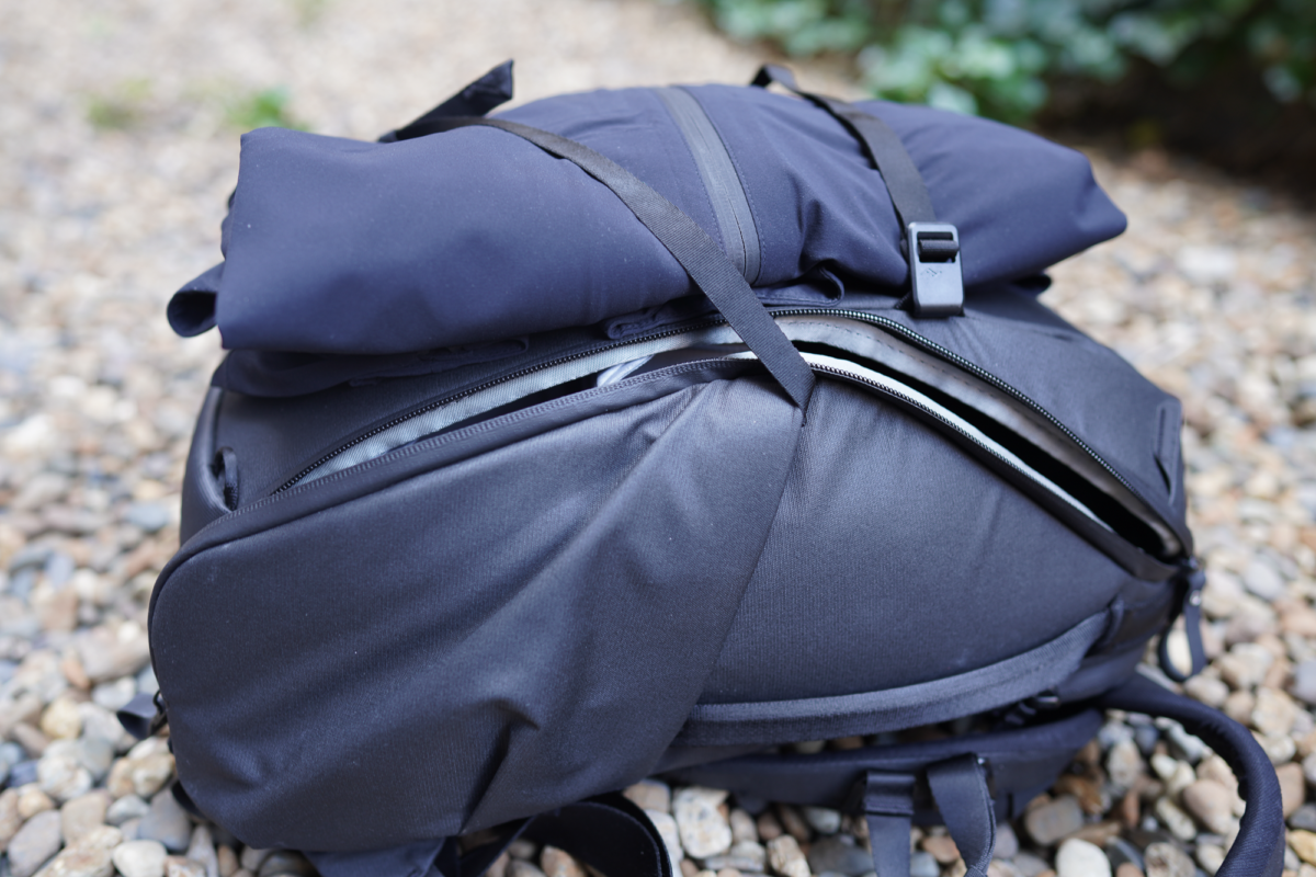 Peak Design Everyday Backpack with Outlier Ecstasy in the Rain.