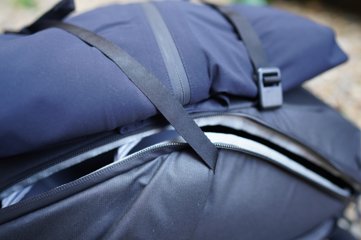 If you strap something onto the Peak Design Everyday Backpack, it's likely that the zippers will be obstructed.