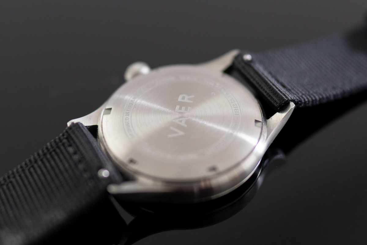Minimal branding on the Vaer C5 Field Watch