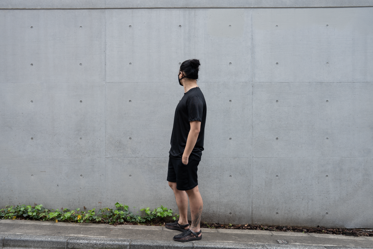 With the Airinum Mask, Outlier Ramielust T-Shirt, Lady White Co. Track Shorts, and KEEN UNEEK Sandal.