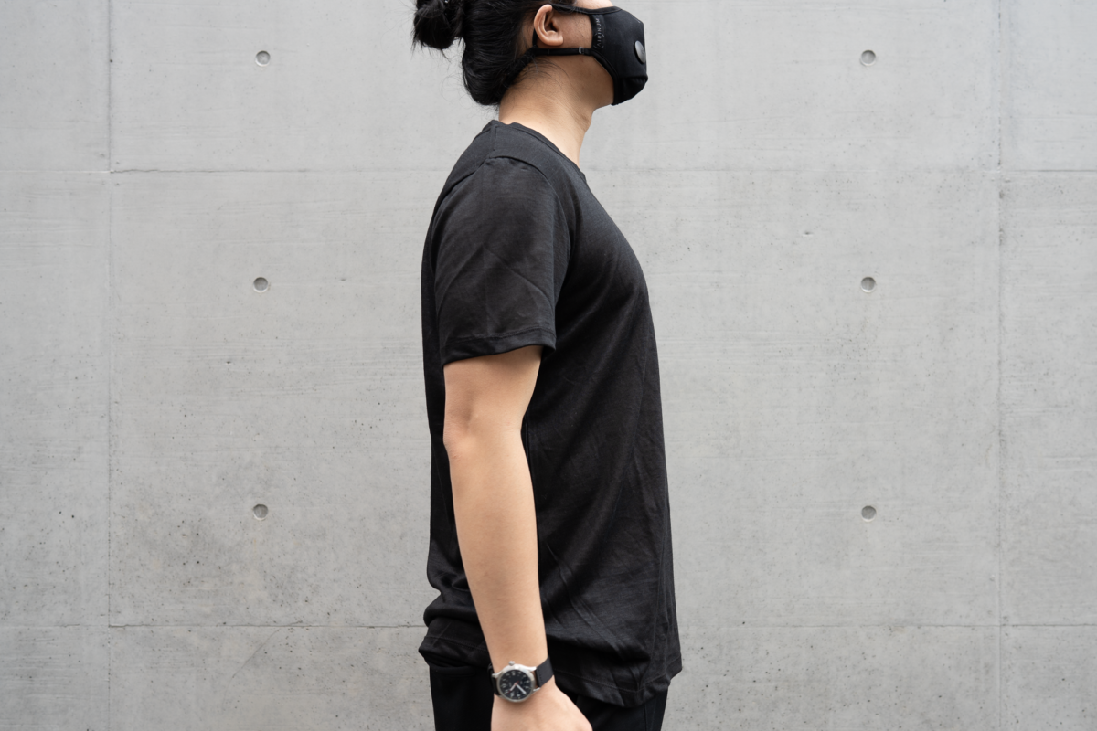 With the Airinum Mask, Vaer C5 Field Watch, and Outlier Ramielust T-Shirt.