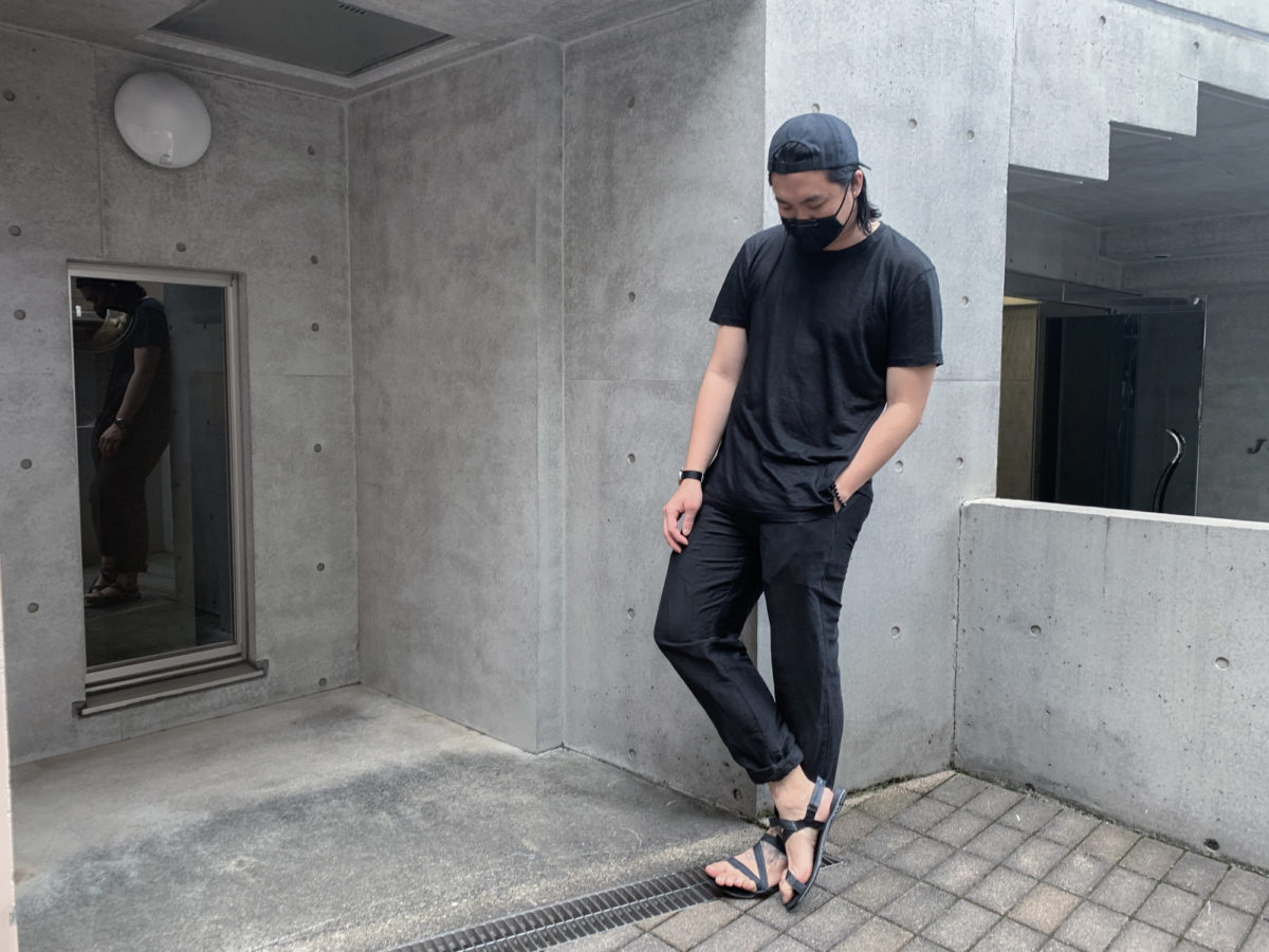 With the Outlier Supermarine Cap, TOM BIHN Face Mask, Outlier Ramielust T-Shirt, Outlier Injected Linen Pants, Vaer C5 Field Watch, and Xero Shoes Z-Trek.