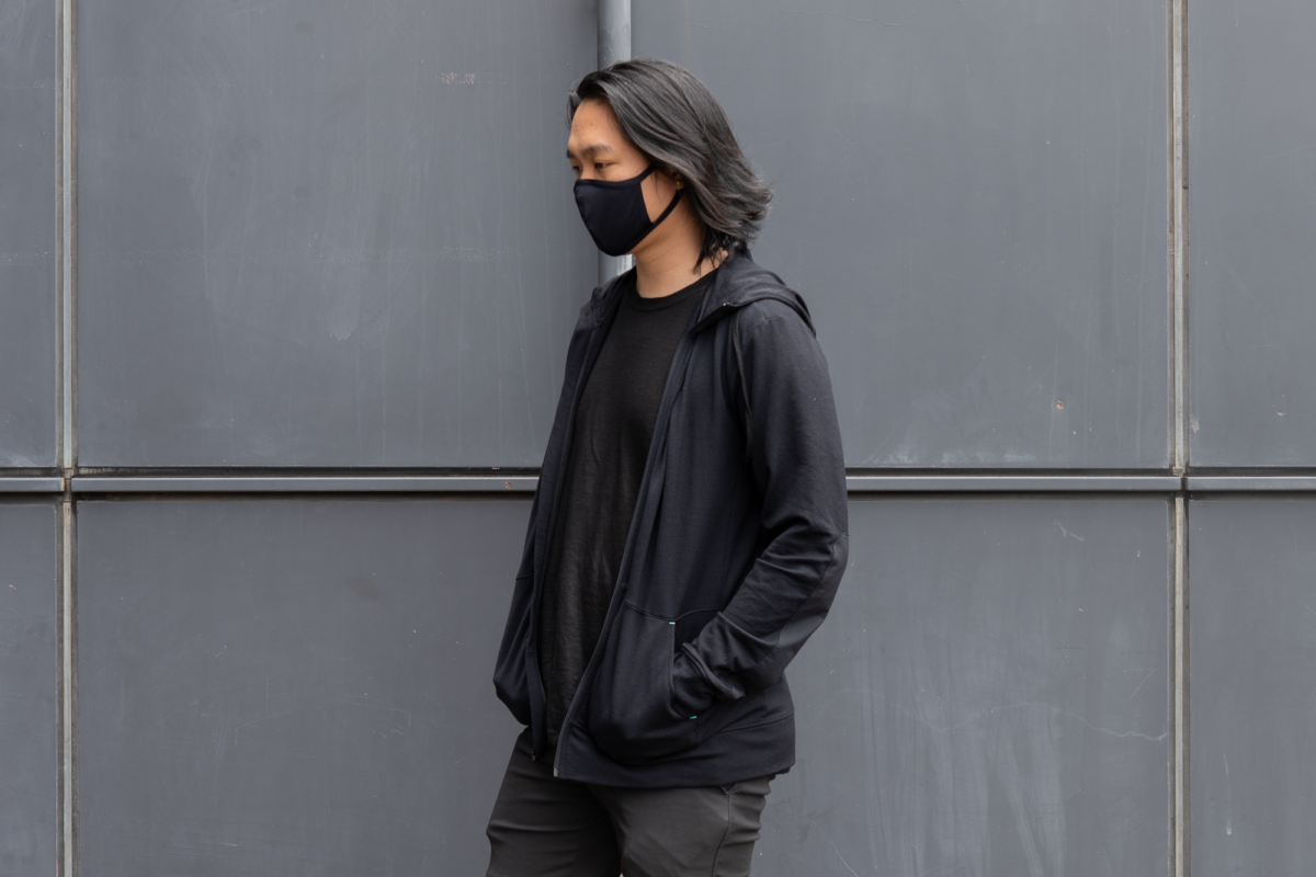 With the GORUCK Face Mask, Outlier Ramielust T-Shirt, and the Outlier New Way Shorts.