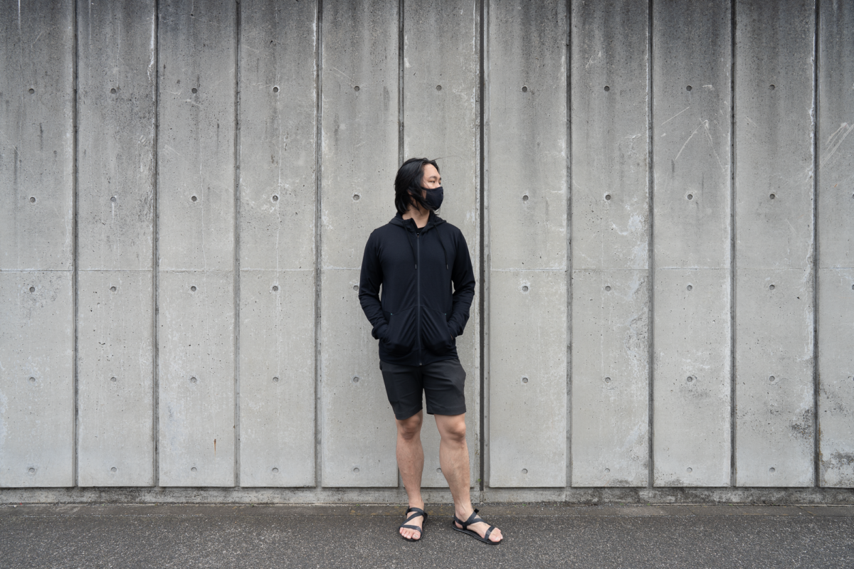 With the GORUCK Face Mask, Wool&Prince Travel Hoodie, Outlier New Way Shorts, and Xero Shoes Z-Trek.