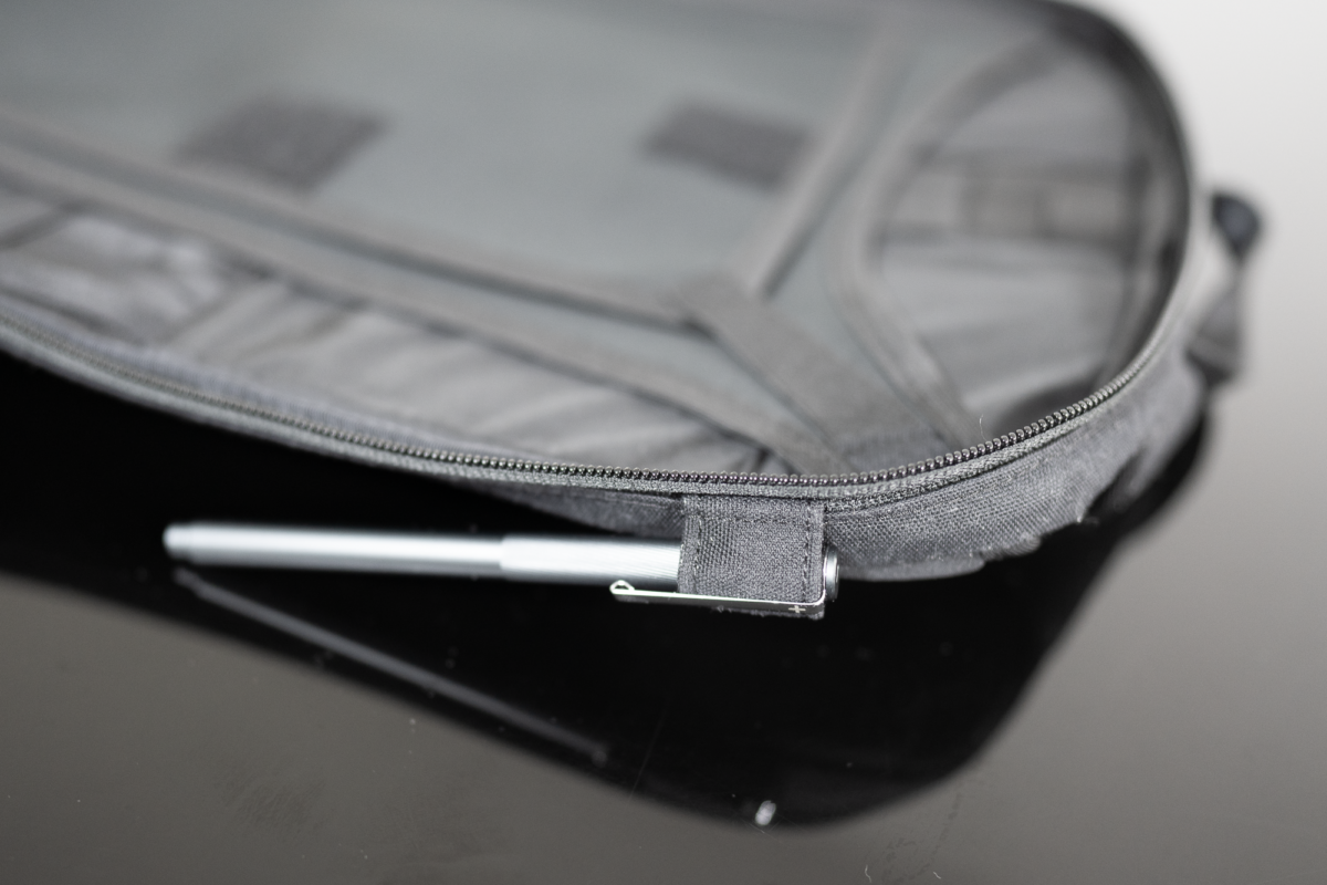 The briefcase loops doubles as a pen slot on the Minaal Daily Bag.