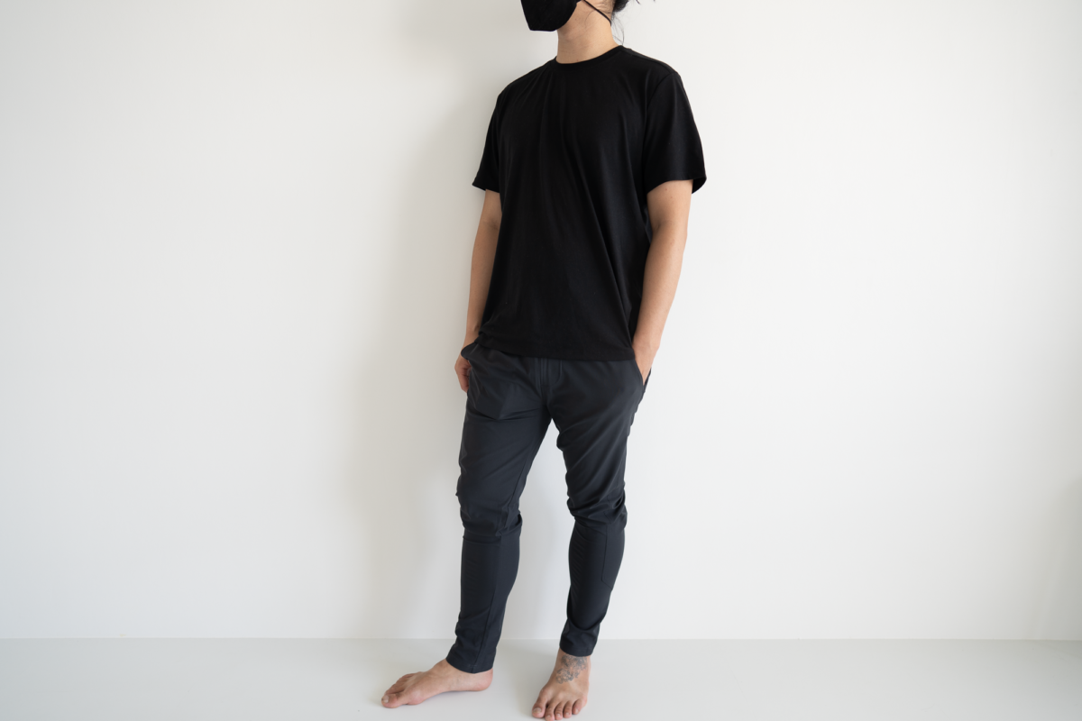 The Western Rise Spectrum Jogger in size medium. With the Fisher + Baker Everyday Cashmere Crew and TOM BIHN V3 Face Mask.
