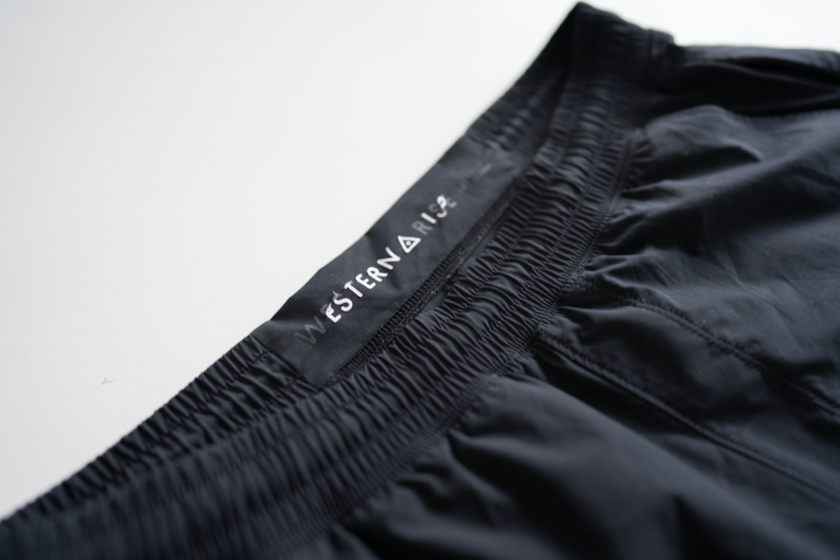 Western Rise Movement Short's heat transfer logo doesn't stand up to washing.