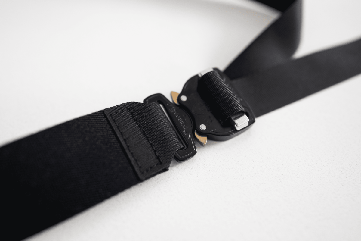 The buckle of the Outlier belt.