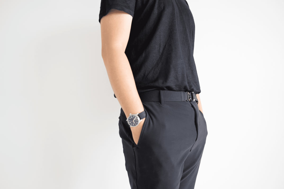 With the Outlier Ramielust T-Shirt, Outlier OG Free Ways, Outlier Polyamour Belt, and Vaer C5 Field Watch.