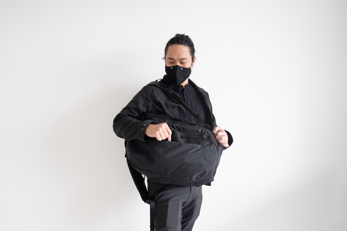 With the TOM BIHN Face Mask, Outlier Hard Shirt, Outlier Futuredarts, and Able Carry Max Backpack.