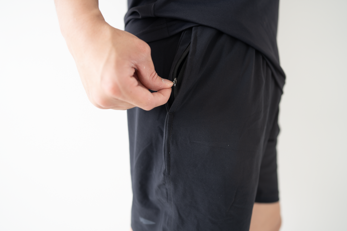 A zippered pocket within the right pocket of the GORUCK American Training Shorts.