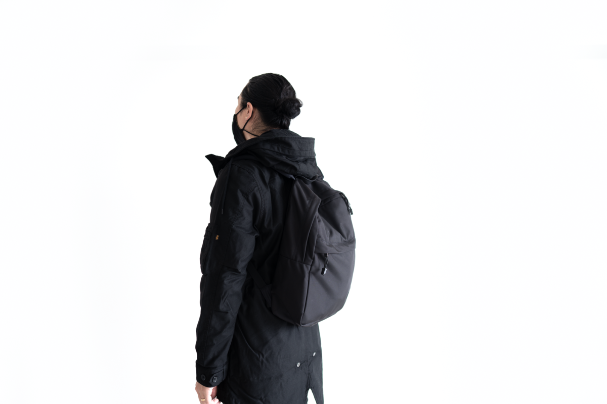 The TOM BIHN Paragon Backpack, TOM BIHN V3 Face Mask with the Alpha Industries M-59 Fishtail Parka