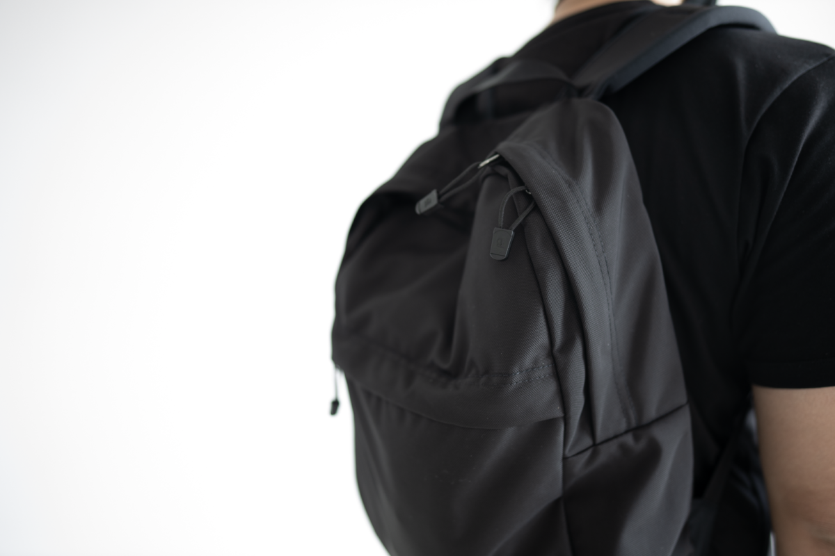 With contents settling towards the bottom of the Paragon Backpack, the top part will look indented.