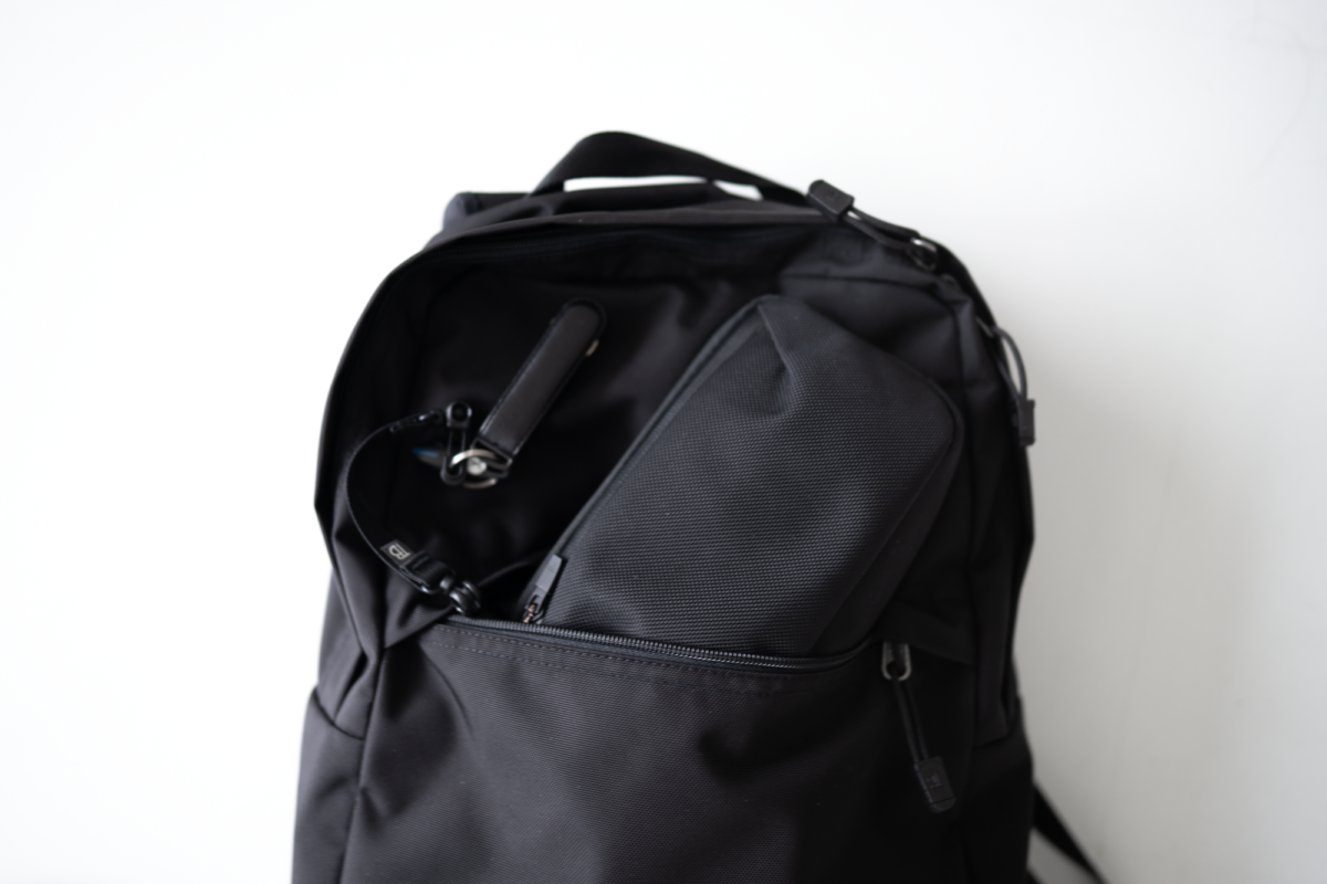 The TOM BIHN Paragon Backpack with the JIBBON Key Organizer and Aer Slim Pouch.