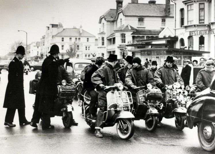 Mods in the Bank Holiday riots in 1960s.