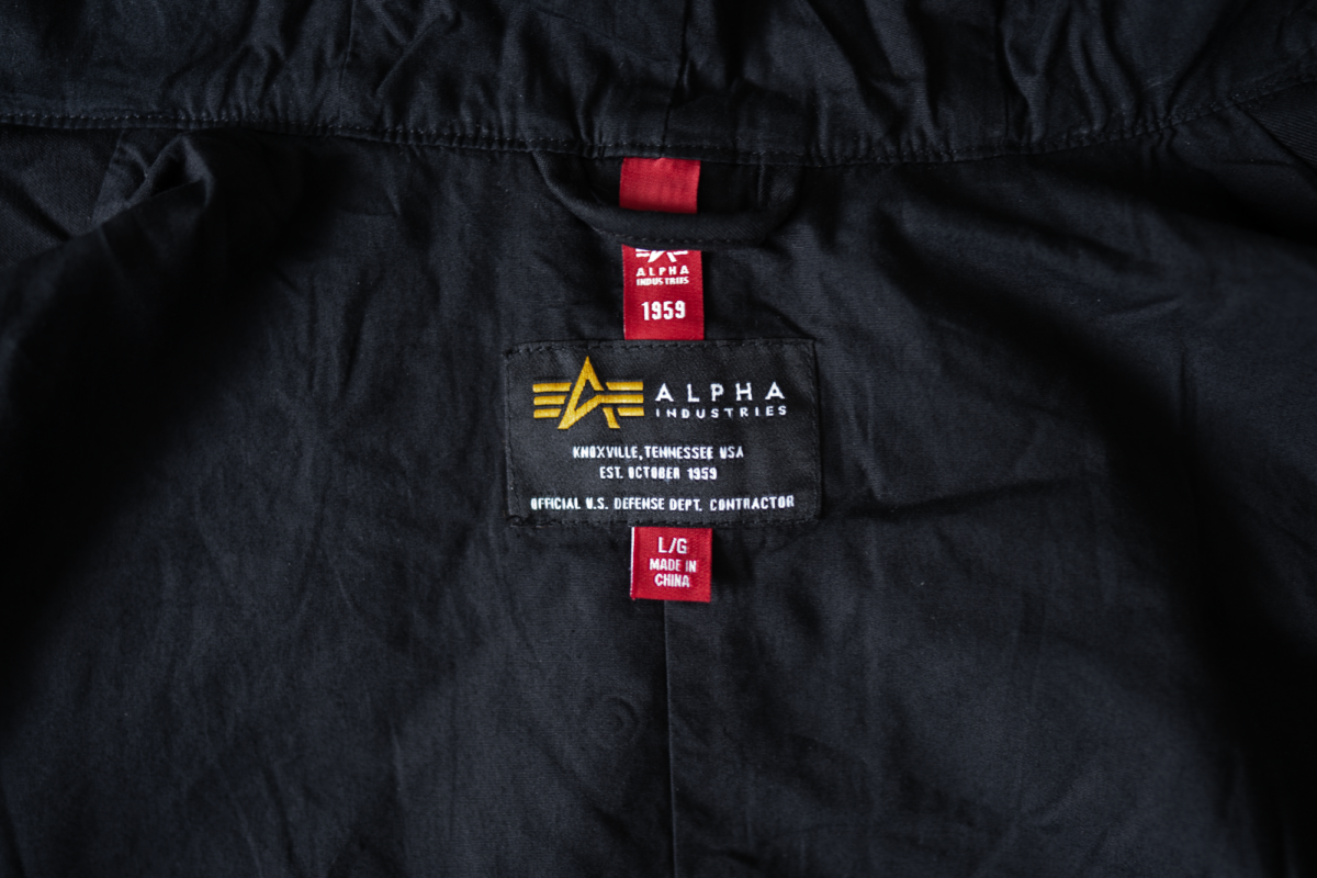 Tag on the Alpha Industries M-59.