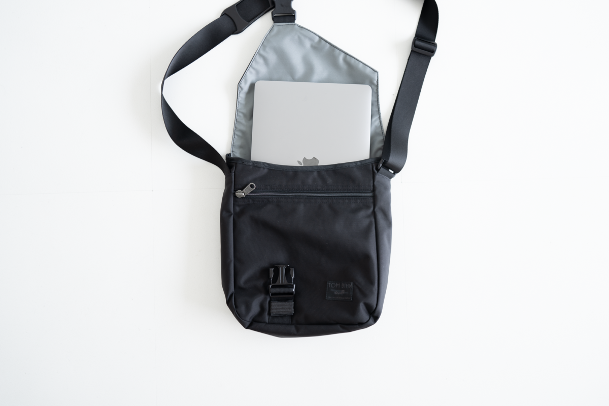 The TOM BIHN Cafe Bag (medium) fits a 13-inch Macbook Pro well.