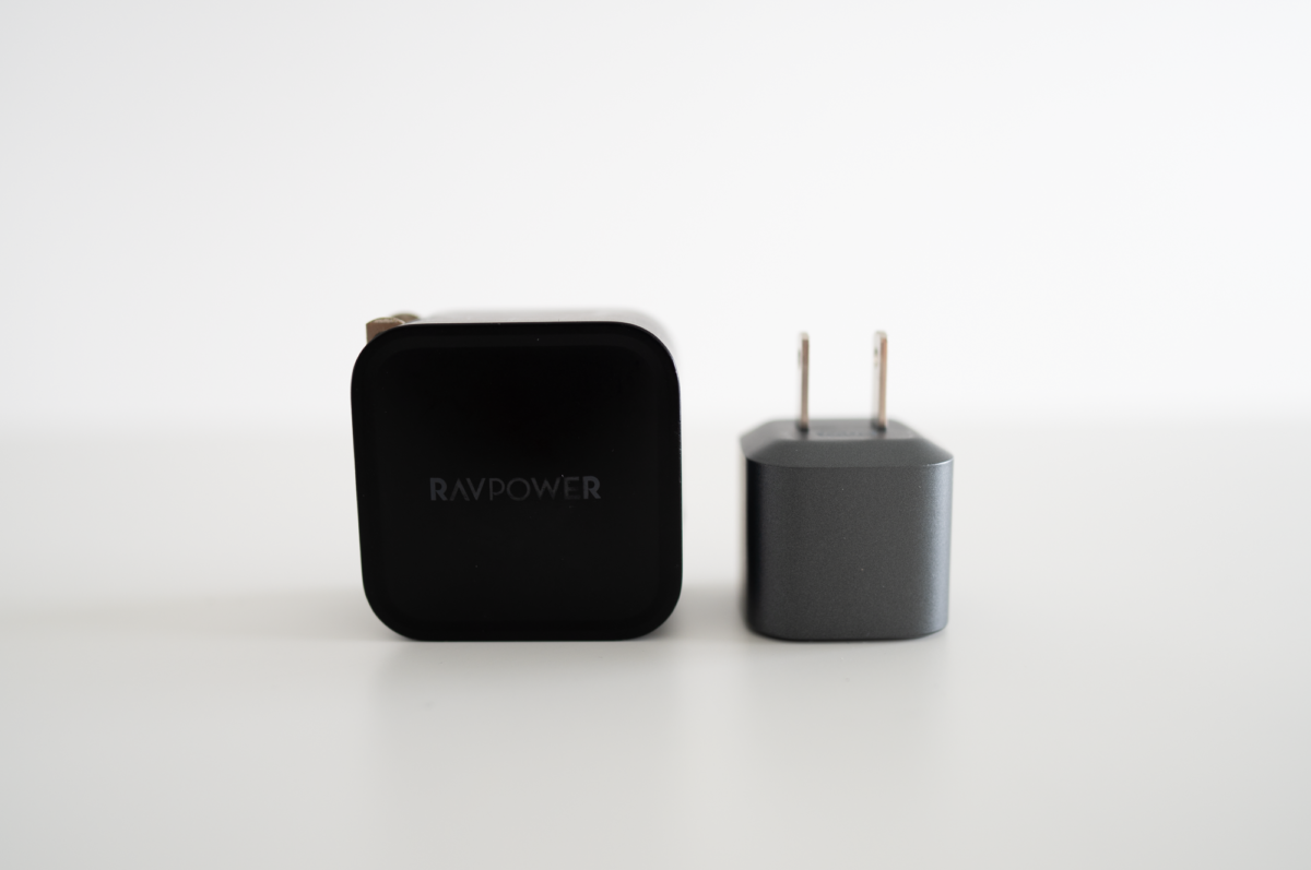 The RAVPOWER 61W Power Adapter, side-by-side with the NOMAD 20W Power Adapter.
