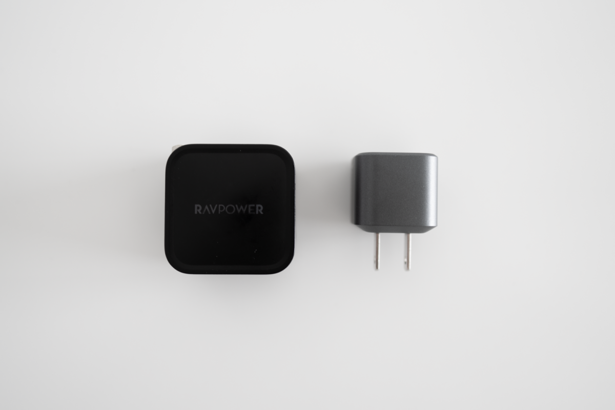 The RAVPOWER 61W Power Adapter side-by-side with the NOMAD 20W Power Adapter.