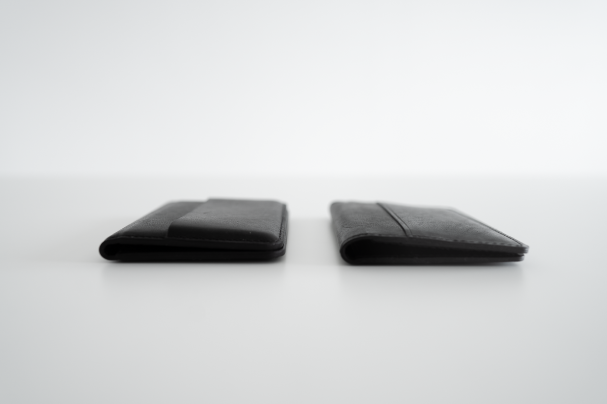 Comparing with thickness of two wallets.